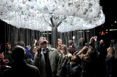 Here's your dose of Friday fun: old bulbs find new life in this brilliant, interactive sculpture.
