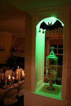 halloween parties, cloth halloween, halloween dinner, dinners, dinner parties, green bulb, newport beach, bat, light bulb