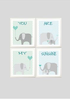 Elephants printable nursery art, 12.00, via Etsy.