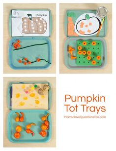 Pumpkin Themed Tot School Trays - Moms Have Questions Too