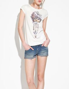 Zara printed t-shirt with grey bow.