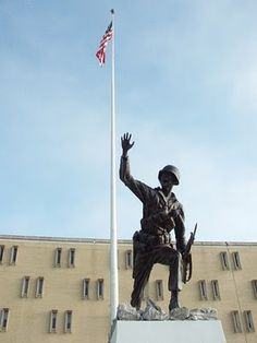 """Iron Mike """"Follow Me"""" statue outside Infantry Hall, Ft. Benning, GA."""