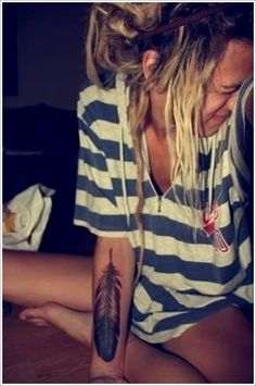 Persevering Your Feather Tattoos ideas: Cute Feather Tattoo Designs For Girl On Arm ~ Men Tattoos Inspiration Tattoo Idea, Colors, Tattoo Patterns, Feathers, Eagles, Hair, Feather Tattoos, Design, Ink