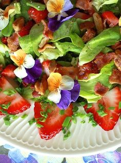 Spring Salad with Pansies and Strawberry Vinaigrette....Almost too pretty to eat:) farm, raspberri, side item, lunch, salads, strawberri vinaigrett, spring salad, pansi, edible flowers