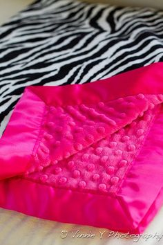 hot, hot pink and zebra baby blanket