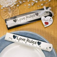 """Love Rules"" Ruler Wedding Favors, Practical Wedding Favors and Bridal Shower Favors"