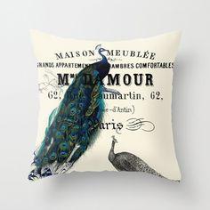 Throw Pillow Cover - Peacock on Vintage Ephemera - 16x16, 18x18, 20x20 - Pillow case Original Design Home Décor by Adidit
