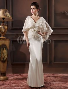 Elegant Ivory Lace V-Neck Sexy Evening Dress  For the mother of the bride or groom.  For filipiniana theme.