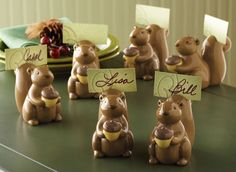 6 Pc Squirrel Place Card Holder