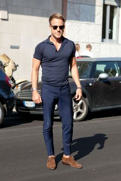 Navy polo and tailored pants with suede shoes. Everyday easy.