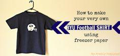 DIY BYU football shirt with Freezer Paper