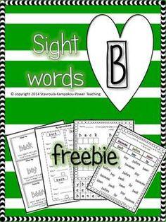 "February's Freebies no2 ""Sight Words B"""