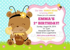 HONEY BEAR invitation  birthday/shower  U by PrettyPartyCreations, $11.50