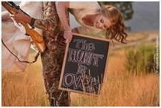 The hunt is over wedding outdoors sign country hunting bride groom guns