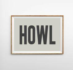 Allen Ginsberg Art Print - Beatnik Art - Retro Art Print - HOWL - Charcoal & Cream Wall Art Home Decor - Nursery Art Print