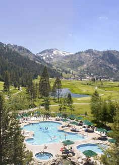 The heated hilltop pool and hot tub complex, open year-round, has 360-degree mountain views.