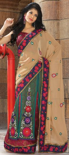 Perfect match for weddings...lehenga style saree,Buy @http://www.indianweddingsaree.com/product/74080.html