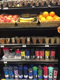 Fresh apples, bananas, and oranges, together with nuts and water bottles, make this Healthy Checkout Line appealing. And we're happy to hear that Harmons will soon be replacing the trail mix on the top shelf with a healthier option too! (Harmons, Farmington, UT, 4/14)