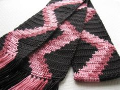 Black and Pink Striped Scarf.  Crochet scarf with by hooknsaw, $38.00