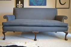 Super cool couch, revamped by Mr. Goodwill Hunting-love him!!