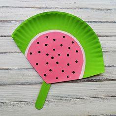 Make a watermelon paper plate fan!