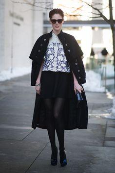 fashion weeks, model, cape, street styles, new york fashion, photo galleries, coco rocha, coat, sidewalk