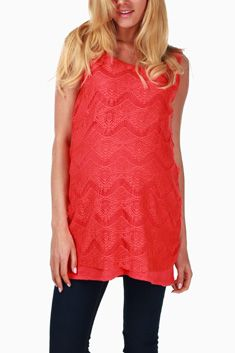 Coral Lace Maternity Tank Top #maternity #fashion
