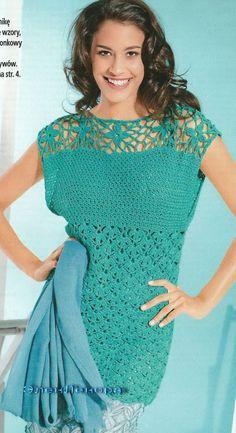crocheted tunics, crochet tunic, crochet chart, green tunic