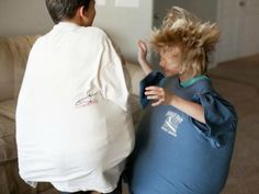 King size pillows + Dads old t-shirts = sumo wrestling fun