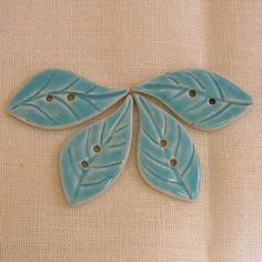 Handmade Buttons Porcelain Leaves BlueGreen by PorcelainJazz.