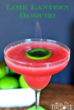 Lime Lantern Daiquiri - A tantalizing daiquiri made with fresh watermelon, lime juice and BACARDI® Mixers Strawberry Daiquiri mix from MomOn...
