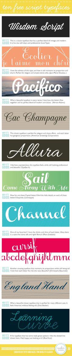 10 Free Script Typefaces | Nicoles Classes