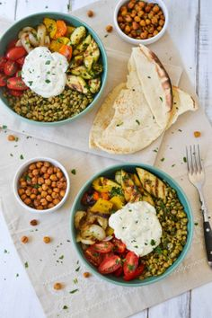 Middle Eastern Grilled Vegetable & Lentil Bowls with Falafel Spiced Chickpeas and Tahini Yoghurt