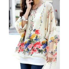 Bohemian Scoop Neck Floral Print Batwing Sleeve Chiffon Blouse For Women