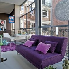 #Sofa cama de 3 plazas Urban Chic Mónaco color Violeta #Decoración #ElCorteIngles