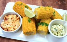 Grilled Corn with Cilantro Lime and Chipotle Lime Butters #grilling #ProjectEnvolve #recipes