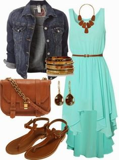 Gorgeous polyvore set with denim jacket and mint dress