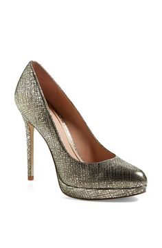 Want to strut down a catwalk in these metallic gold Enzo Angiolini platform pumps.