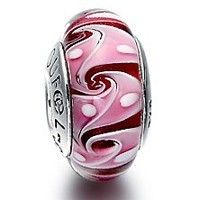 Pink Ocean Wave Murano Glass Bead Sterling Silver