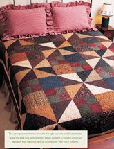 """Enjoy the Country Comfort digital pattern from Easy Quilts Fall 2011 issue. It's the arrangement of easy-to-make triangle squares and four patches that give this bed-size quilt interest.  Quilt Designed by Bev Getschel and is 79"""" x 96""""Project Rating: Easy. Only $5 for the digital pattern."""