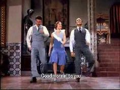 "Good Morning, Good Morning from ""Singing in the Rain"" 1952 starring Gene Kelly, Debbie Reynolds, Donald O'Connor. Great dance number and cute song."