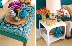 side table. color schemes, color combos, colors, coffee table ottoman decor, orang tulip, side tabl, hous, flower, thing