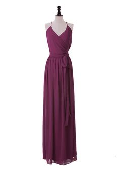 Sexy Floor Length Haltered Chiffon Dress With Self Belt