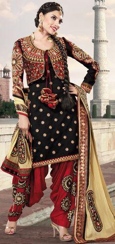 Designer Black Georgette Semi #Patiala #Punjabi #Suit for #wedding
