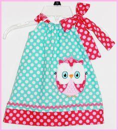 Super Cute Owl Applique Dress Ocean dot by LilBitofWhimsyCoutur