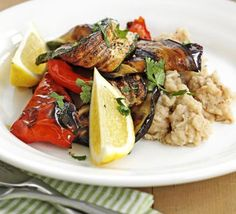 Grilled Mediterranean veg with bean mash