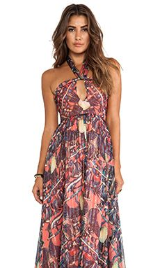 Issa Printed Maxi Halter Dress in Coral | REVOLVE