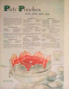 Party Punch Recipes – Holiday Magazine Article (1957)