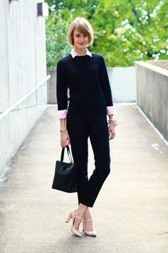 Black-crewneck-charter-club-sweater-light-pink-button-down-thrifted-shirt