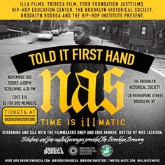 """""""Nas: Time is Illmatic"""" screening and Q&A"""